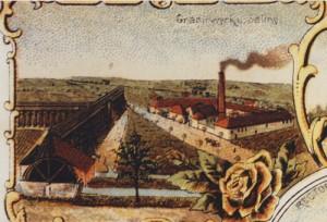 Das Gradierwerk im 19. Jahrundert an der Geseker Straße. (Quelle Dr. Walter Hemmen)